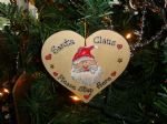 Santa Claus Please Stop Here Christmas Heart Tree or Window Hanger Decoration Handmade Unique Item OOAK